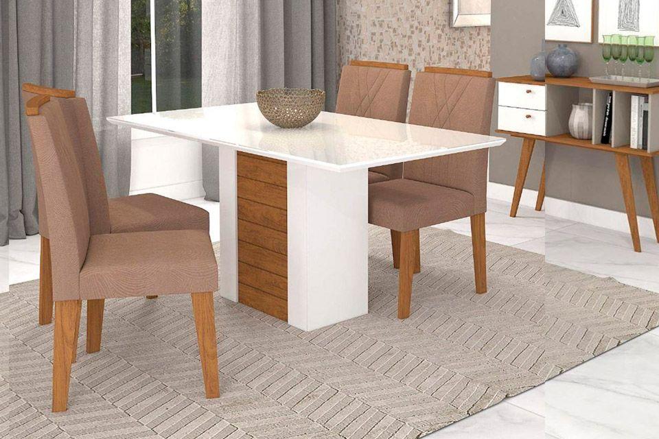 Sala de Jantar Rafaela 130x80 c/ 4 Cadeiras NicoleCor Branco/Savana - Assento/Encosto Savana/Pluma