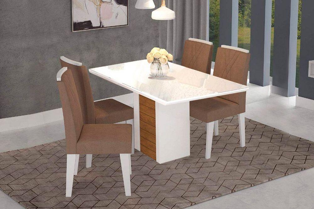 Sala de Jantar Rafaela 130x80 c/ 4 Cadeiras NicoleCor Branco/Savana - Assento/Encosto Pluma