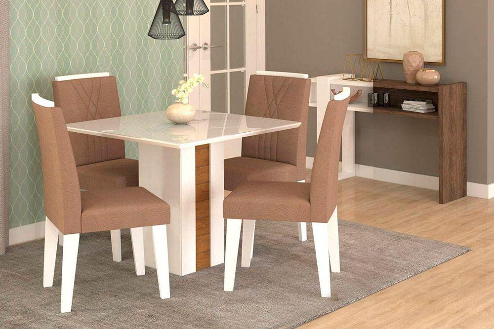 Sala de Jantar Rafaela 95x95 c/ 4 Cadeiras NicoleCor Branco/Savana - Assento/Encosto Pluma