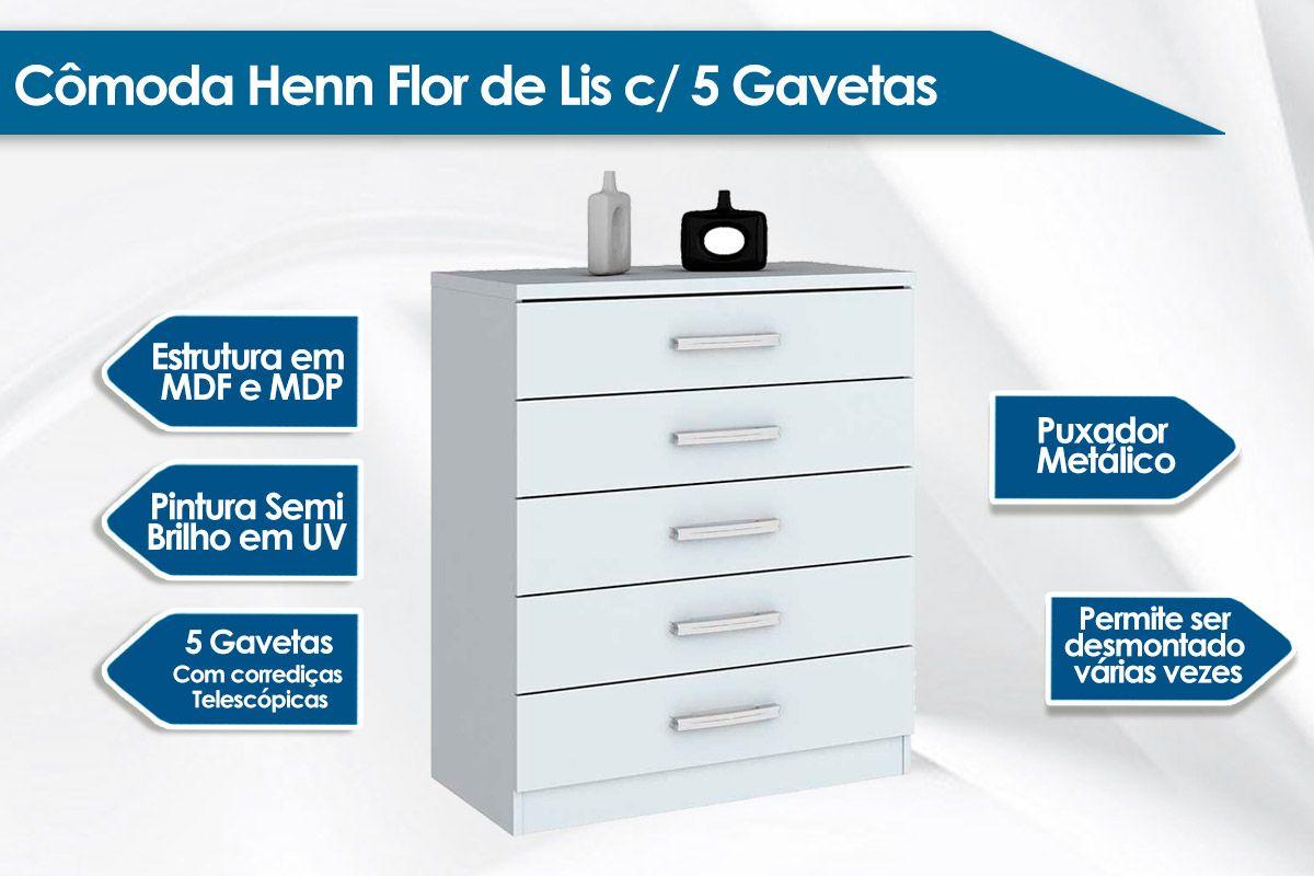 Cômoda Henn Flor de Lis 5 Gavetas