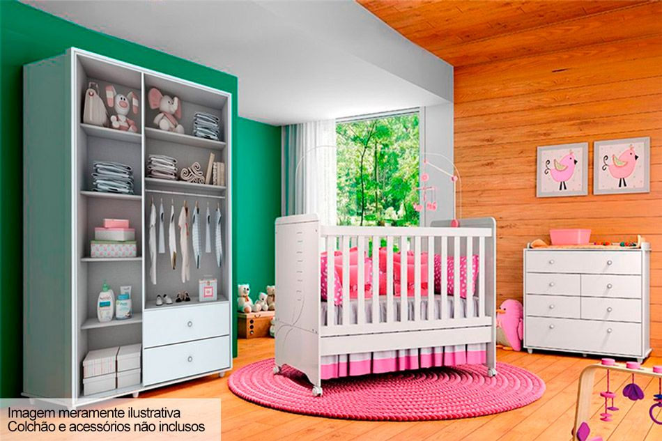 Quarto Infantil (Bebê) Completo Henn Pão de Mel QI18 (Guarda Roupa+Berço+Cômoda)