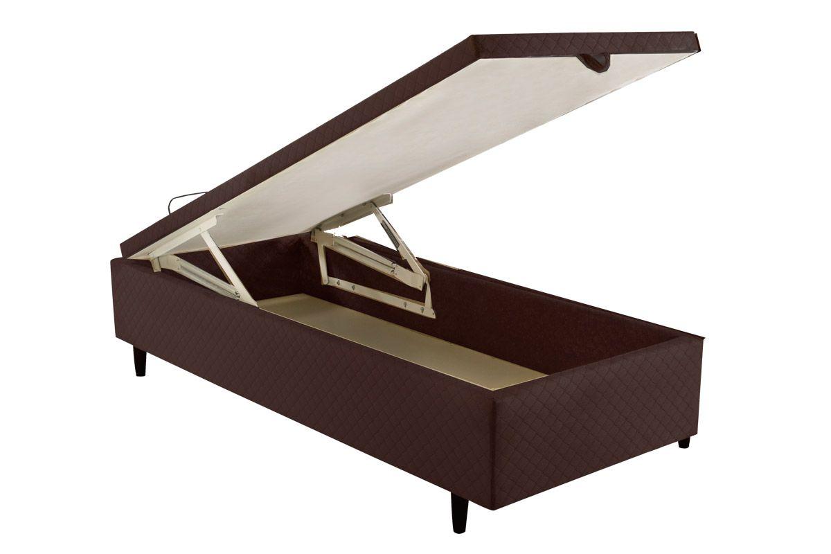 Cama Box Baú Herval MH 1439 Ravena MarromCama Box Solteiro - 0,88x1,88x0,35 - Sem Colchão
