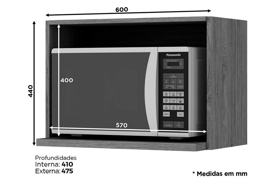 Nicho de Cozinha Henn Integra Porta Microondas 60 cm