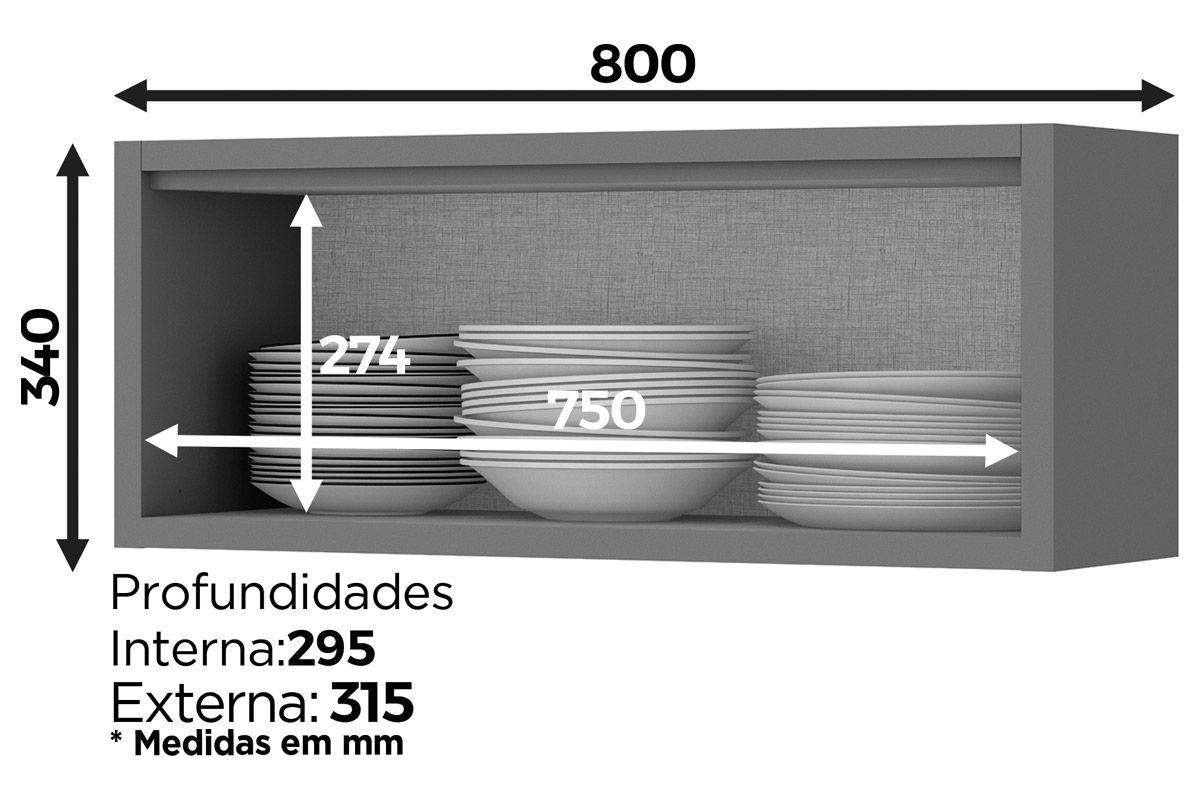Armário de Cozinha Henn Lyra Aéreo c/ 1 Porta Basculante 80cm