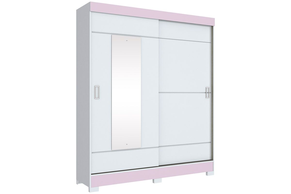 Roupeiro Henn Briz B66 c/ 2 Pts e EspelhoCor Branco ou Branco c/ Rosa - Chá  -  Flex
