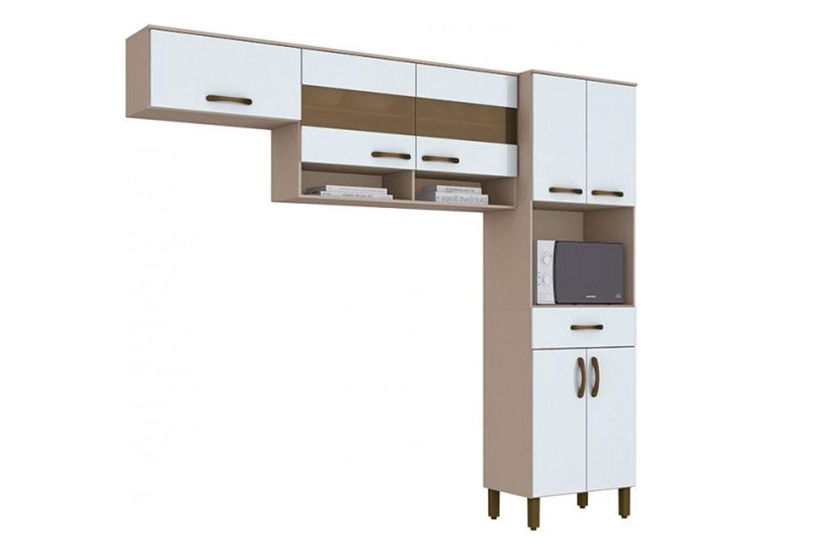 Kit de Cozinha Henn Briz B115 c/ 7 Pts e 1 Gav-Cor Cristal/BrancoCor Cristal/Branco