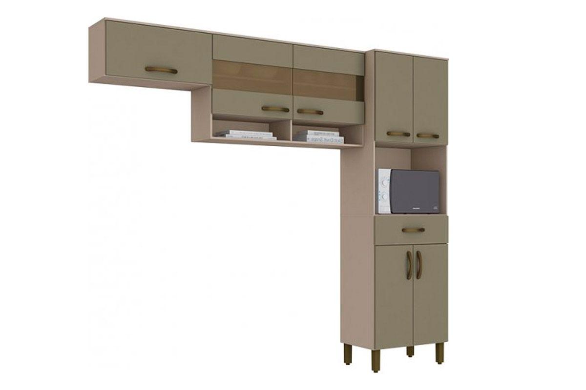 Kit de Cozinha Henn Briz B115 c/ 7 Pts e 1 Gav-Cor Cristal/BrancoCor Cristal/Duna