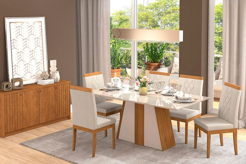 Conjunto Sala de Jantar Cimol Mesa Daiana 180cm c/6 Cadeiras AliceCor Madeira/Off White Assento/Encosto Aspen