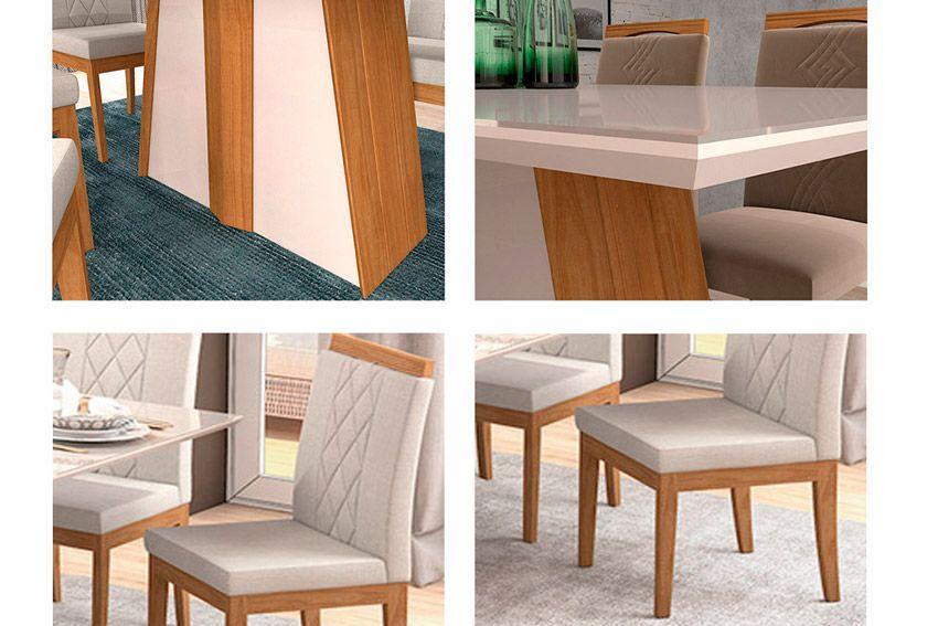 Conjunto Sala de Jantar Cimol Mesa Daiana 180cm c/6 Cadeiras Alice