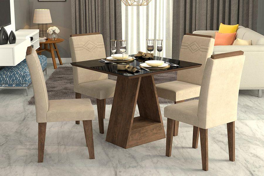 Sala de Jantar Cimol Mesa Alana 950x950 Com 4 Cadeiras TaísCor Marrocos  -  Assento/Encosto Sued Bege
