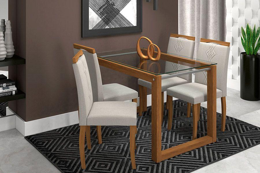 Sala de Jantar Mesa Cimol Anita 120cm c/ 4 Cadeiras LauraCor Savana - Assento/Encosto Aspen