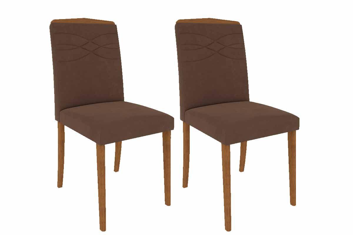 Cadeira Cimol Vanessa Madeira (Jogo c/ 2 unidades)Cor Madeira - Assento/Encosto Chocolate