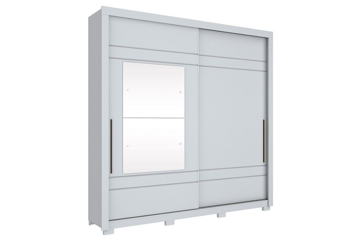 Guarda Roupa Henn Delicato 2 Portas Deslizantes 3 Gavetas - c/ EspelhoCor Branco