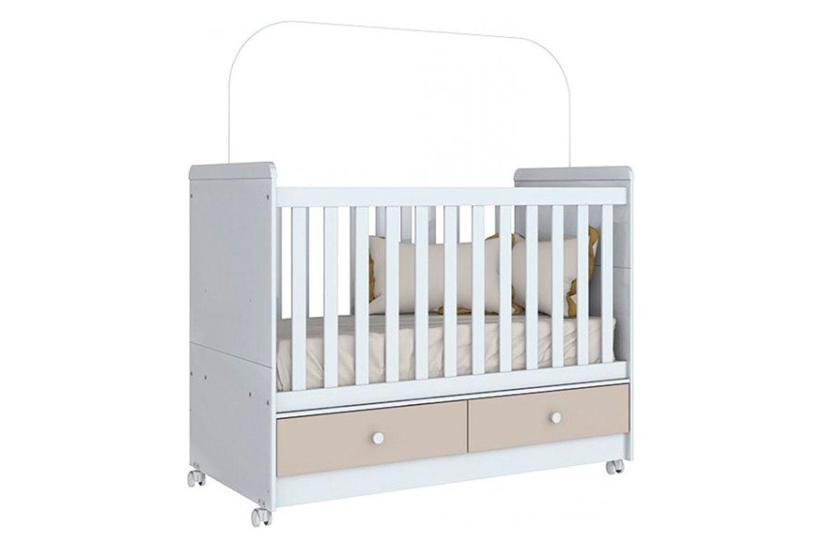Berço e Mini Cama Infantil Henn Aquarela 3 em 1Cor Cristal/Branco