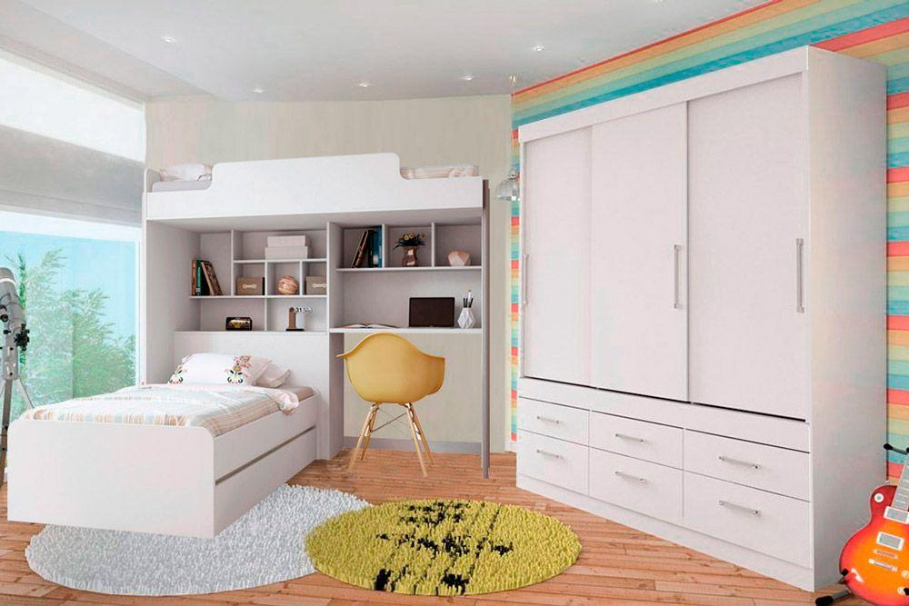 Quarto Completo Juvenil Santos Andira Office New  (Guarda Roupa+Cama Juvenil+Modulo Office+Cama Auxiliar)