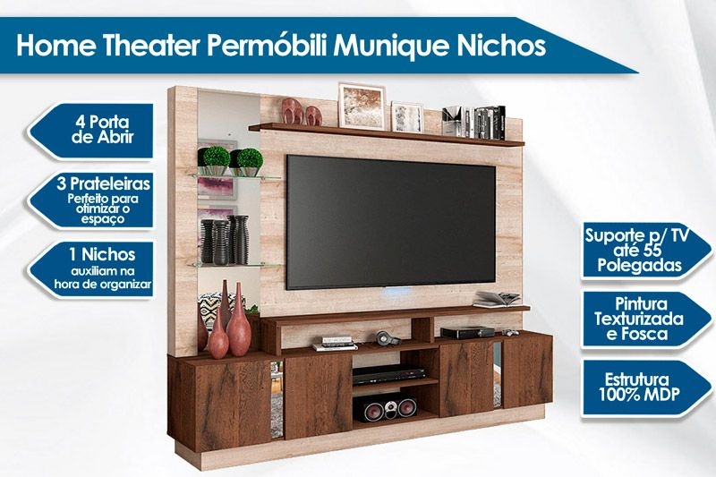 Home Theater Permóbili Munique c/ Nichos e Prateleiras p/ TV de até 65