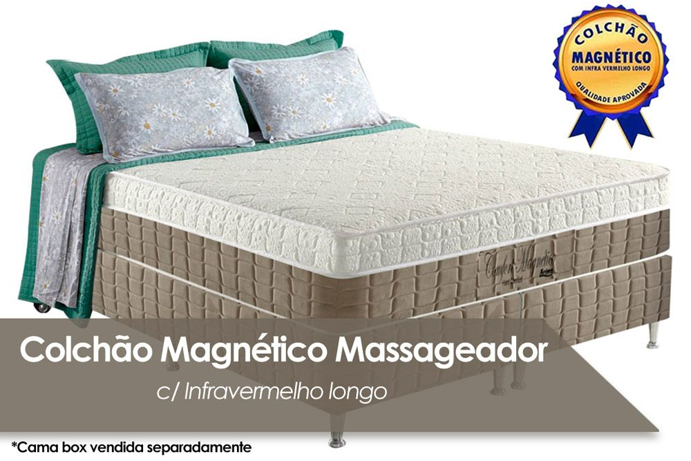 Colchão Anjos Confort Magnético Terapêutico c/ Infravermelho (Bege)Colchão Casal - 1,38x1,88x0,32 - Sem Cama Box