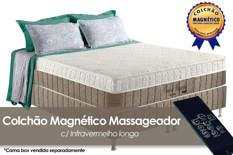 Colchão Anjos Confort Magnético Terapêutico c/ Infravermelho e Massagem BegeColchão Casal - 1,38x1,88x0,32 - Sem Cama Box