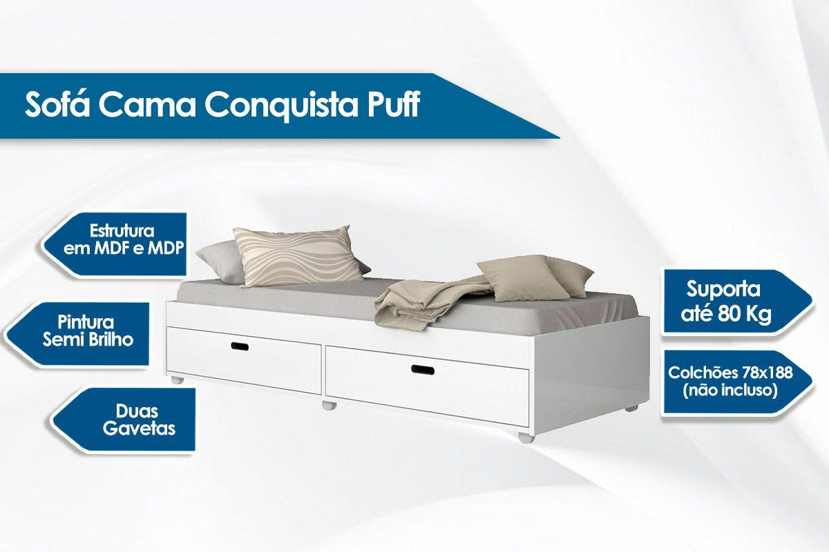 Sofá Cama Conquista Puff c/ 2 Gavetas
