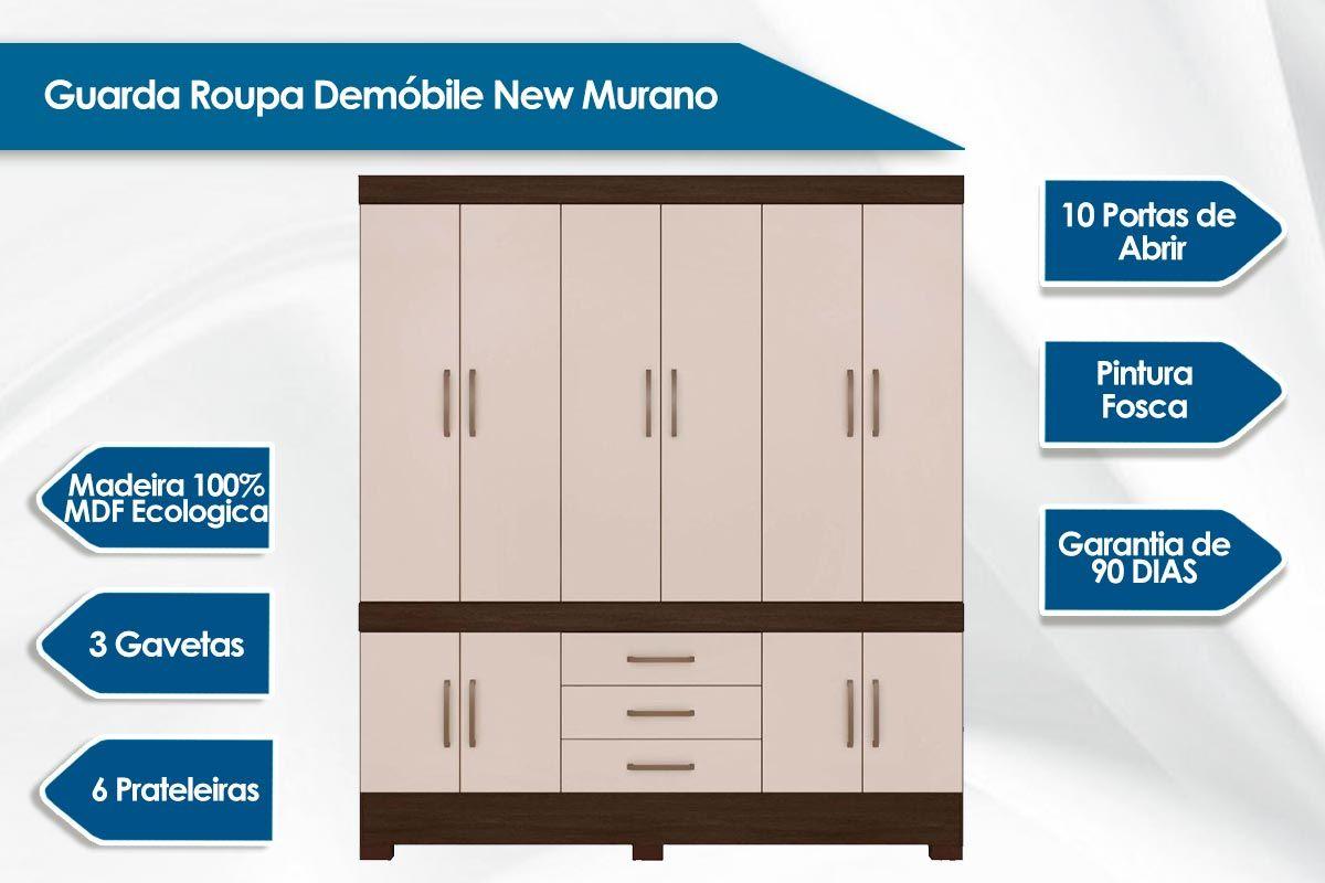 Guarda Roupa Demóbile New Murano c/ 10 Pts e 3 Gav