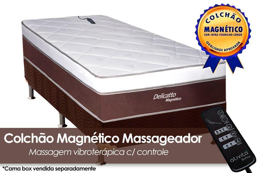 Colchão Magnético Infravermelho c/ Massageador Delicatto Molas Pocket Branco/MarromColchão Solteiro - 0,88x1,88x0,32 - Sem Cama Box