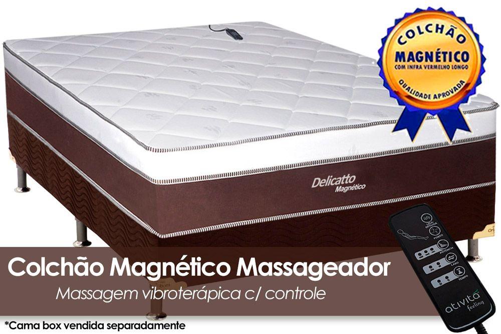 Colchão Magnético Infravermelho c/ Massageador Delicatto Molas Pocket Branco/MarromColchão Casal - 1,38x1,88x0,32 - Sem Cama Box