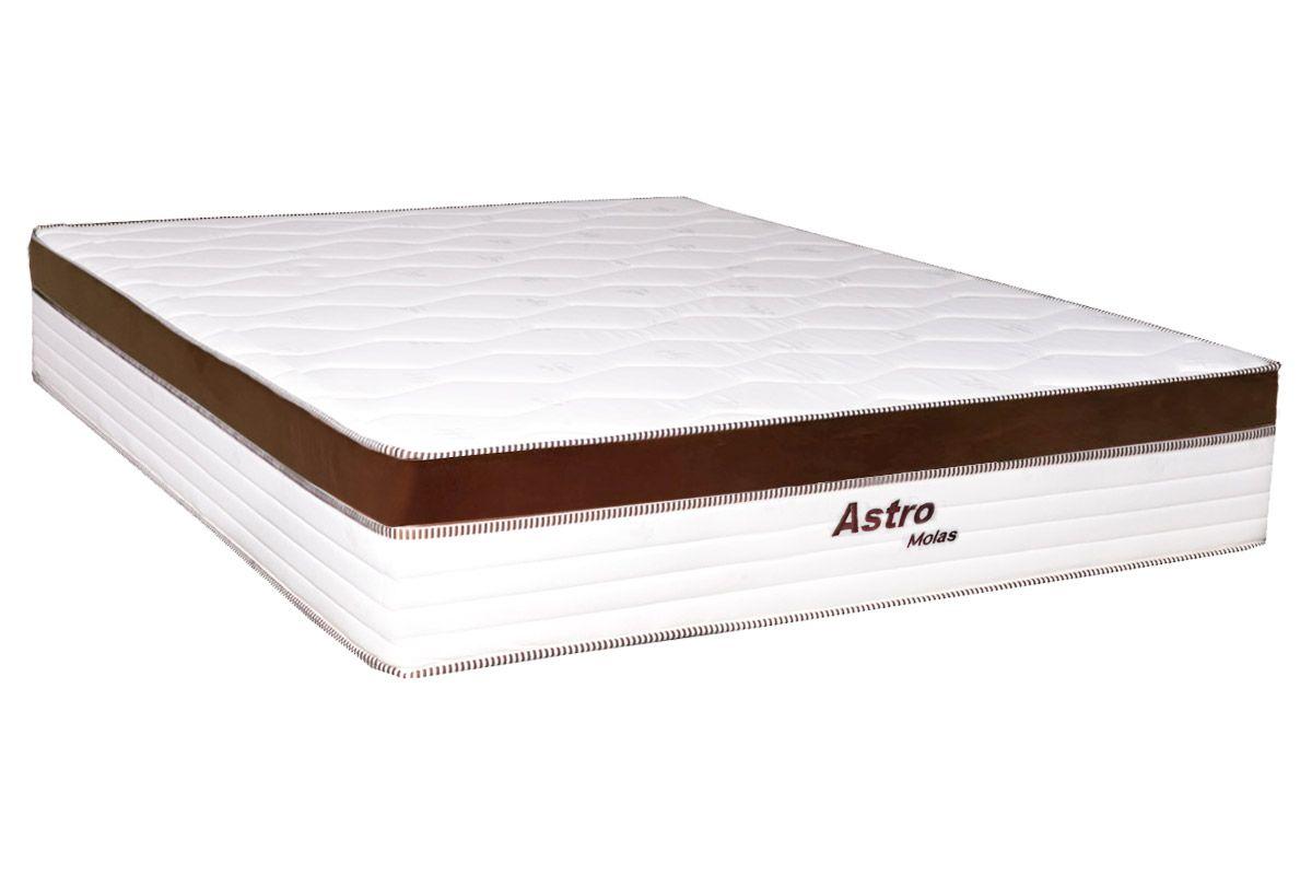 Colchão de Molas Pocket Astro Europilow Branco/MarromColchão Casal - 1,38x1,88x0,32 - Sem Cama Box