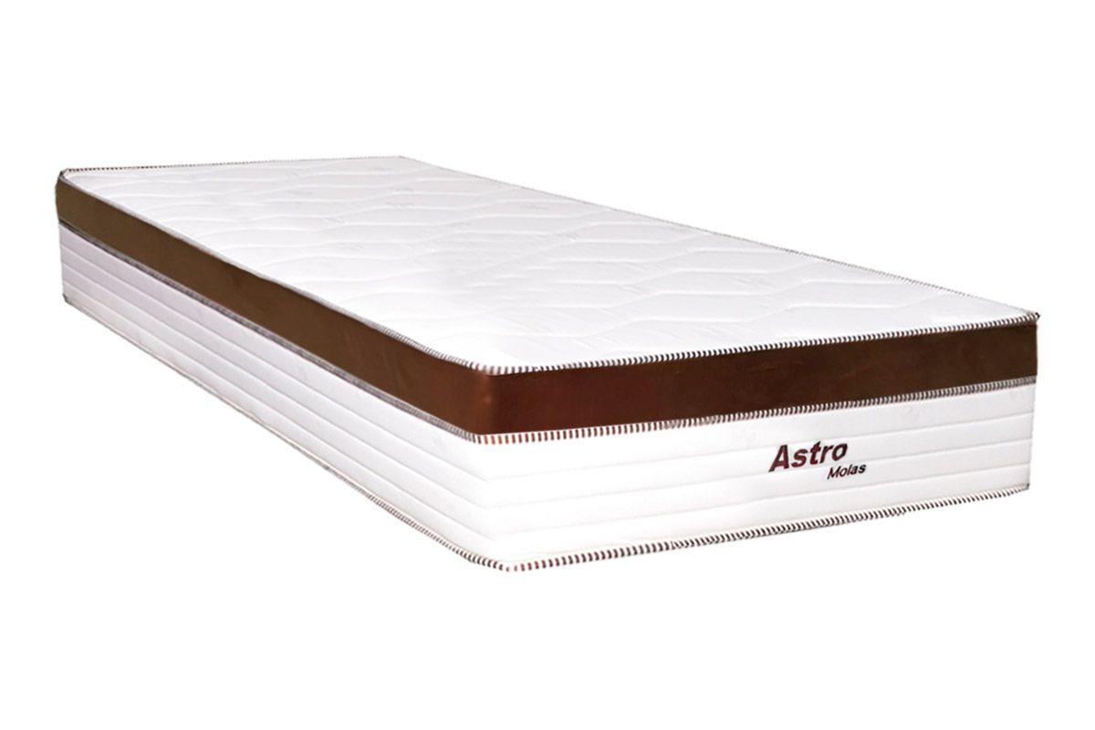 Colchão de Molas Pocket Astro Europilow Branco/MarromColchão Solteiro - 0,88x1,88x0,32 - Sem Cama Box