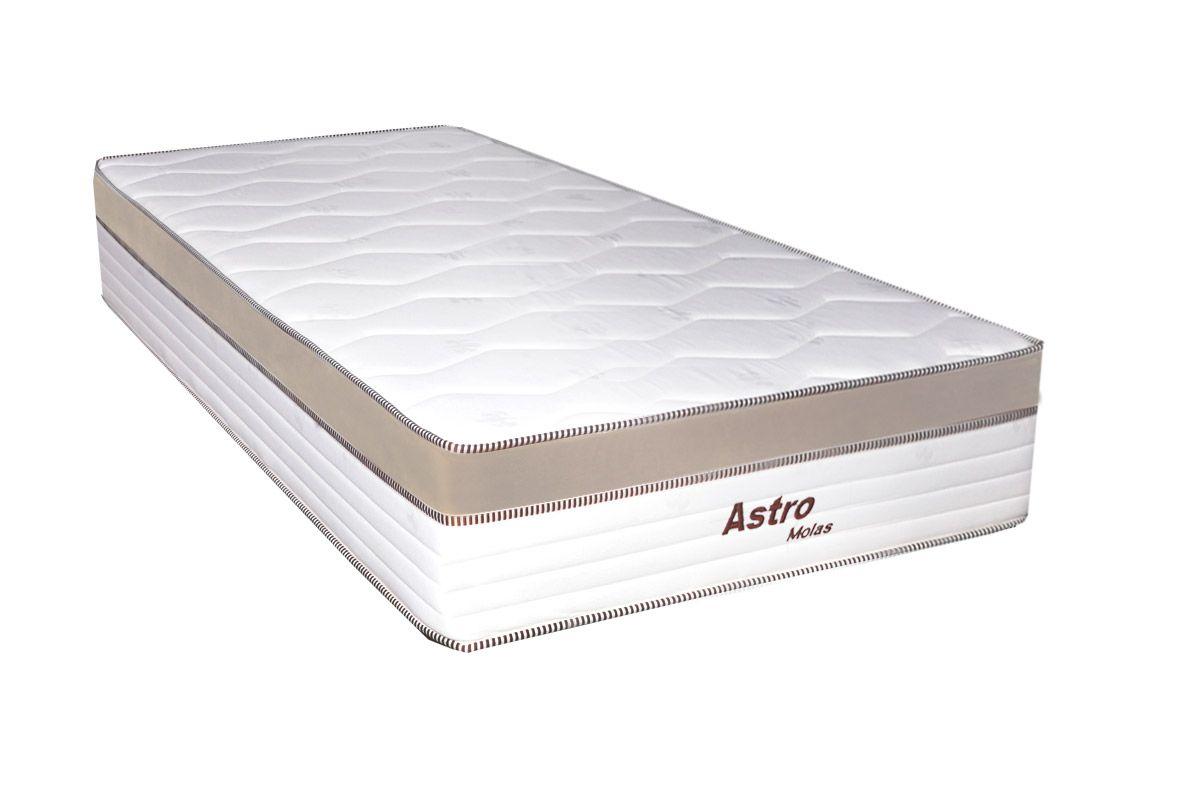 Colchão de Molas Pocket Astro Europilow  - Branco/BegeColchão Solteiro - 0,88x1,88x0,32 - Sem Cama Box