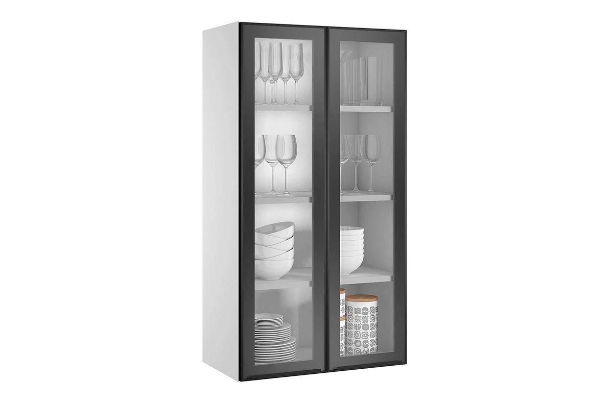 Armário de Cozinha Itatiaia Exclusive Aço ARM 2PT VD ALTO G 65 c/ 2 Portas de VidroCor Preto