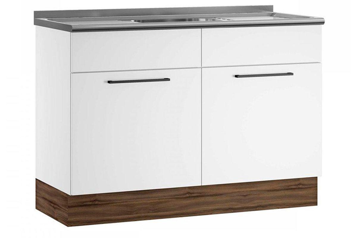Gabinete (Balcão) de Cozinha Itatiaia Exclusive Aço BALC 2PT 120 PIA 2 Portas c/ PiaCor Branco