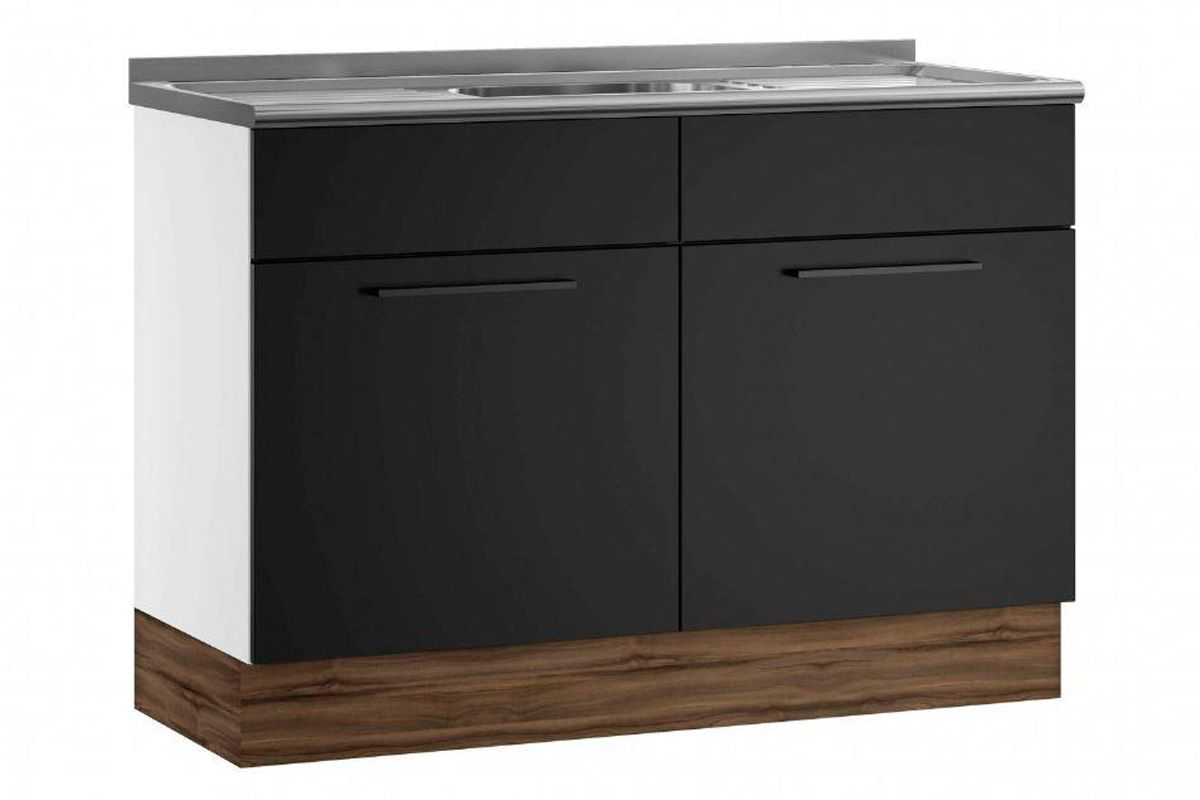 Gabinete (Balcão) de Cozinha Itatiaia Exclusive Aço BALC 2PT 120 PIA 2 Portas c/ PiaCor Preto