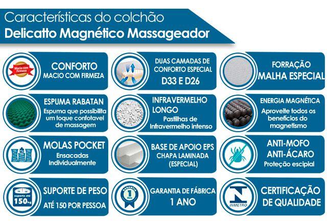 Colchão Magnético Infravermelho c/ Massageador Delicatto Molas Pocket Branco/Bege