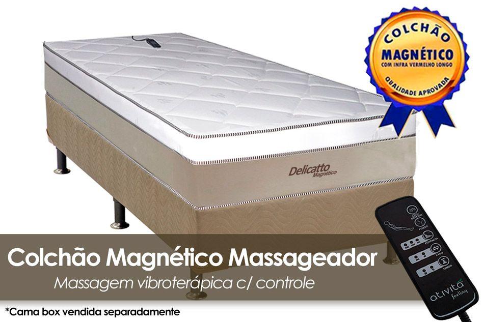 Colchão Magnético Infravermelho c/ Massageador Delicatto Molas Pocket Branco/BegeColchão Solteiro - 0,88x1,88x0,32 - Sem Cama Box