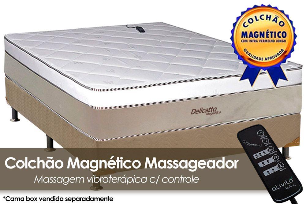 Colchão Magnético Infravermelho c/ Massageador Delicatto Molas Pocket Branco/BegeColchão Casal - 1,38x1,88x0,32 - Sem Cama Box