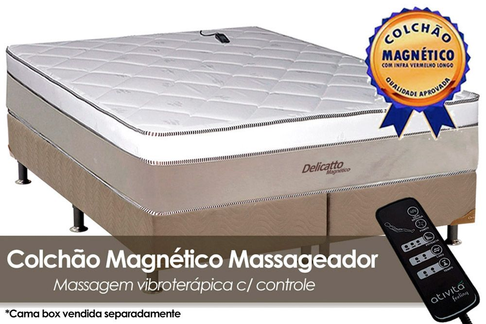 Colchão Magnético Infravermelho c/ Massageador Delicatto Molas Pocket Branco/BegeColchão King Size - 1,93x2,03x0,32 - Sem Cama Box