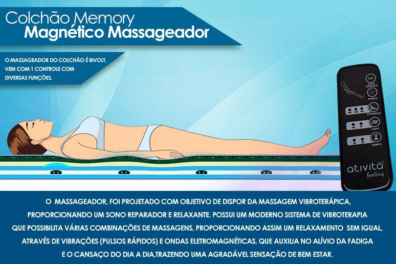 Colchão Magnético Infravermelho c/  Massageador Memory Branco/Cinza