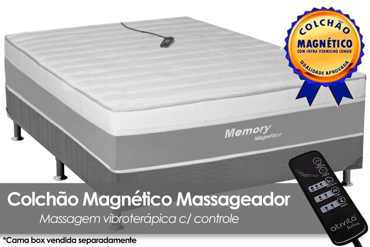 Colchão Magnético Infravermelho c/  Massageador Memory Branco/CinzaColchão Casal - 1,38x1,88x0,32 - Sem Cama Box