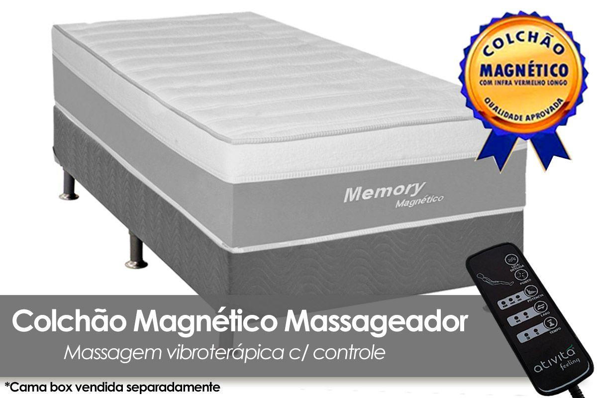 Colchão Magnético Infravermelho c/  Massageador Memory Branco/CinzaColchão Solteiro - 0,88x1,88x0,32 - Sem Cama Box