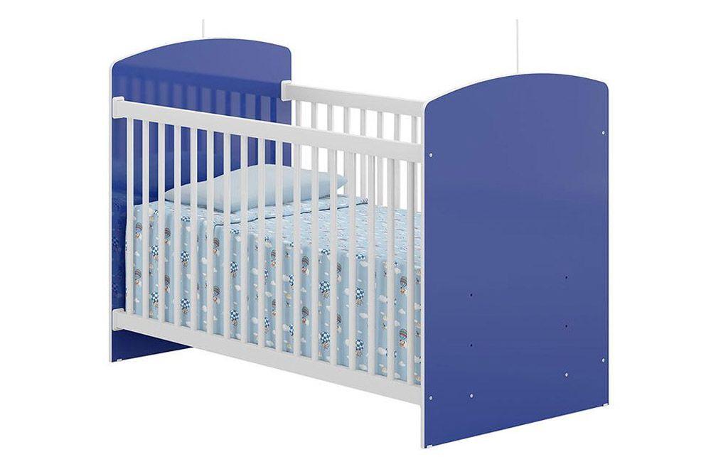 Berço Multimóveis 3 Regulagens de Altura 0515Cor Branco Brilho c/ Azul Brilho