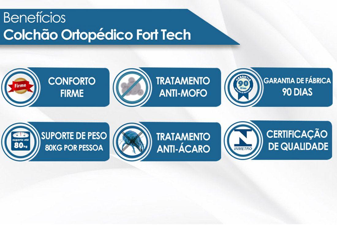 Colchão Ortobom de Espuma Ortopédica Fort Tech 18cm