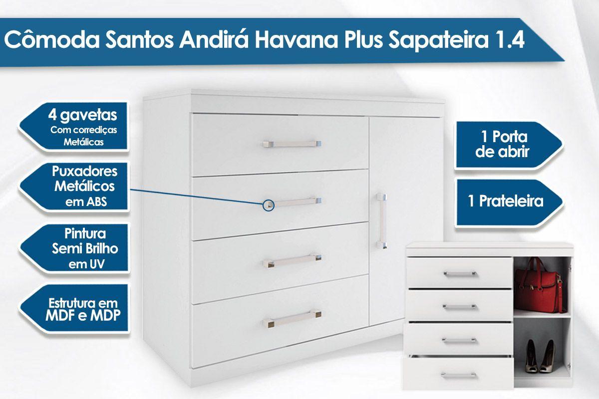 Conjunto Santos Andirá Guarda Roupa Havana Plus 6.3 + Cômoda