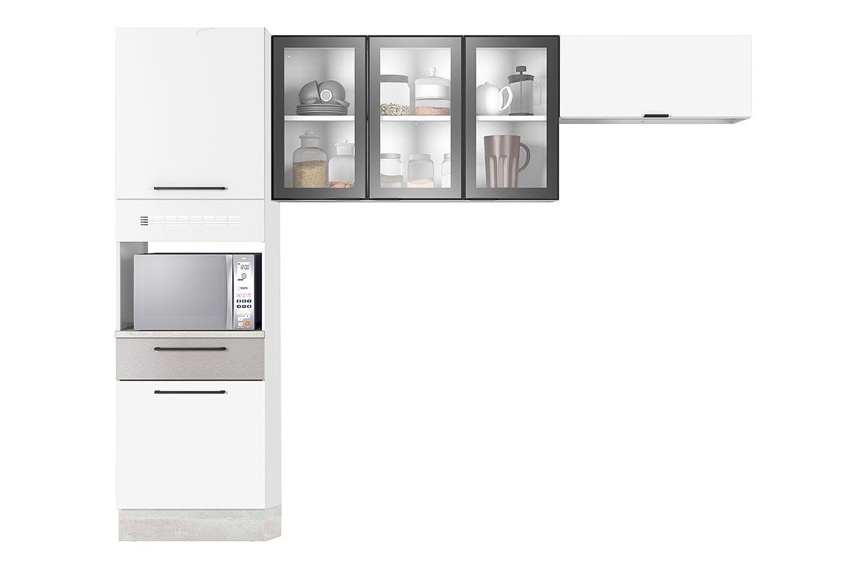 Cozinha Compacta Itatiaia Exclusive Aço 3 Peças (Paneleiro+2 Armários Aéreos)Cor Branco c/ Preto