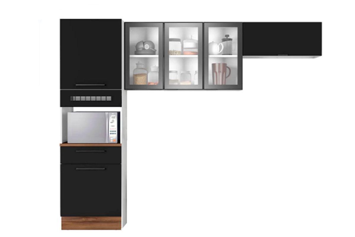 Cozinha Compacta Itatiaia Exclusive Aço 3 Peças (Paneleiro+2 Armários Aéreos)Cor Preto