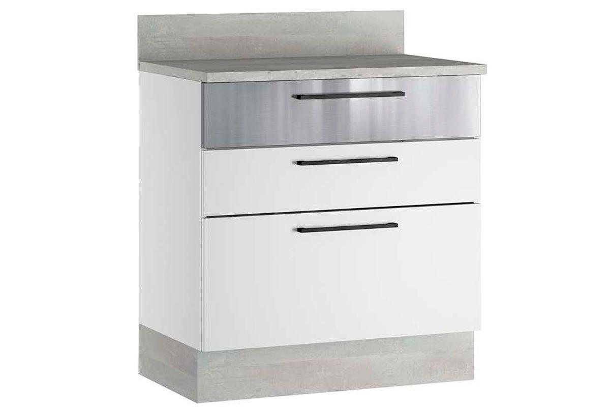 Balcão de Cozinha Itatiaia Exclusive Aço BALC 3GAV 80 c/TampoCor Branco / Inox