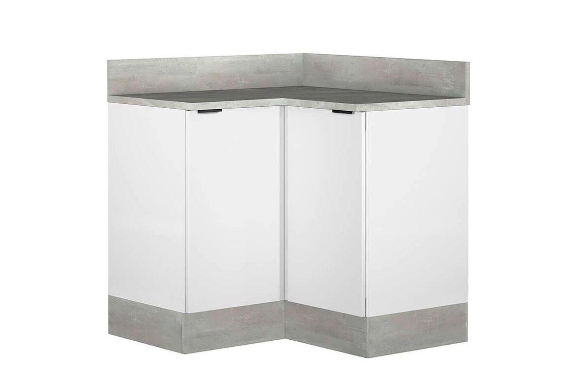 Gabinete Cozinha Itatiaia Exclusive BALC CANTO 2P Aço c/TampoCor Branco c/ Concreto