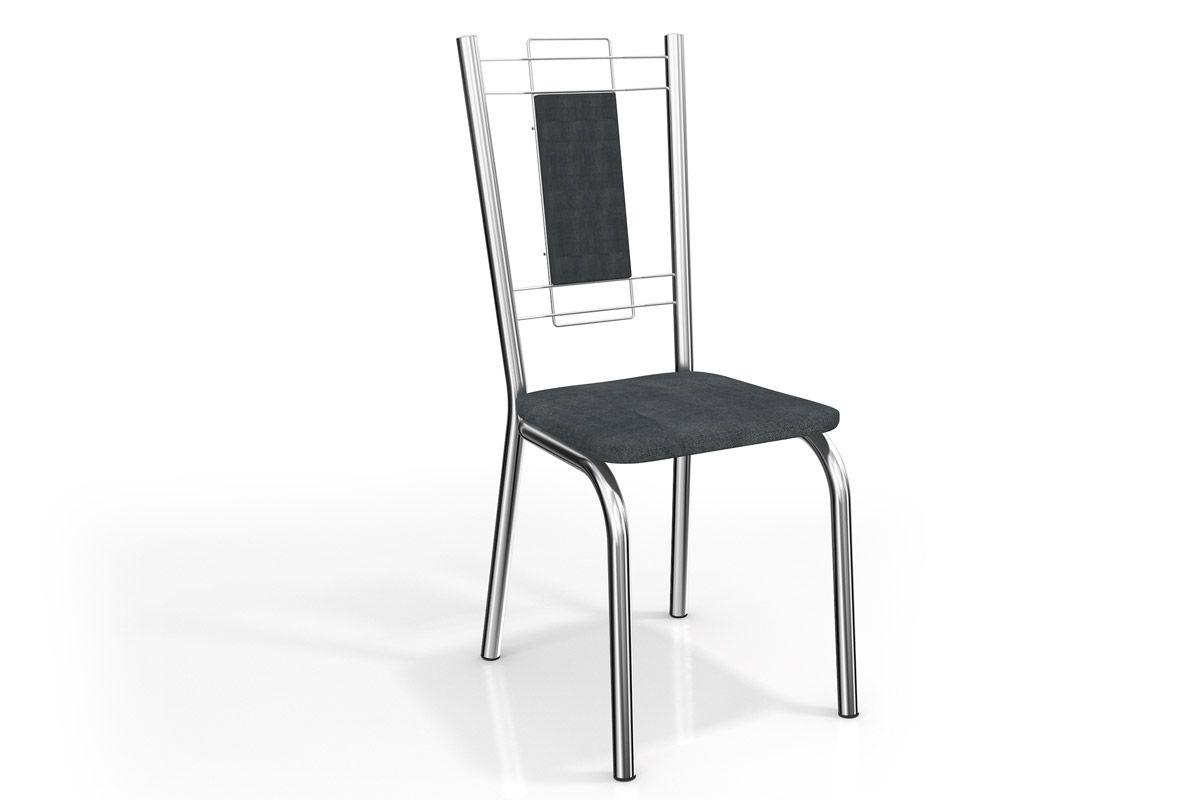 Cadeira Kappesberg Florença Aço Cromada 2C005CRCor Cromada  -  Assento Preto Linho Cinza 17