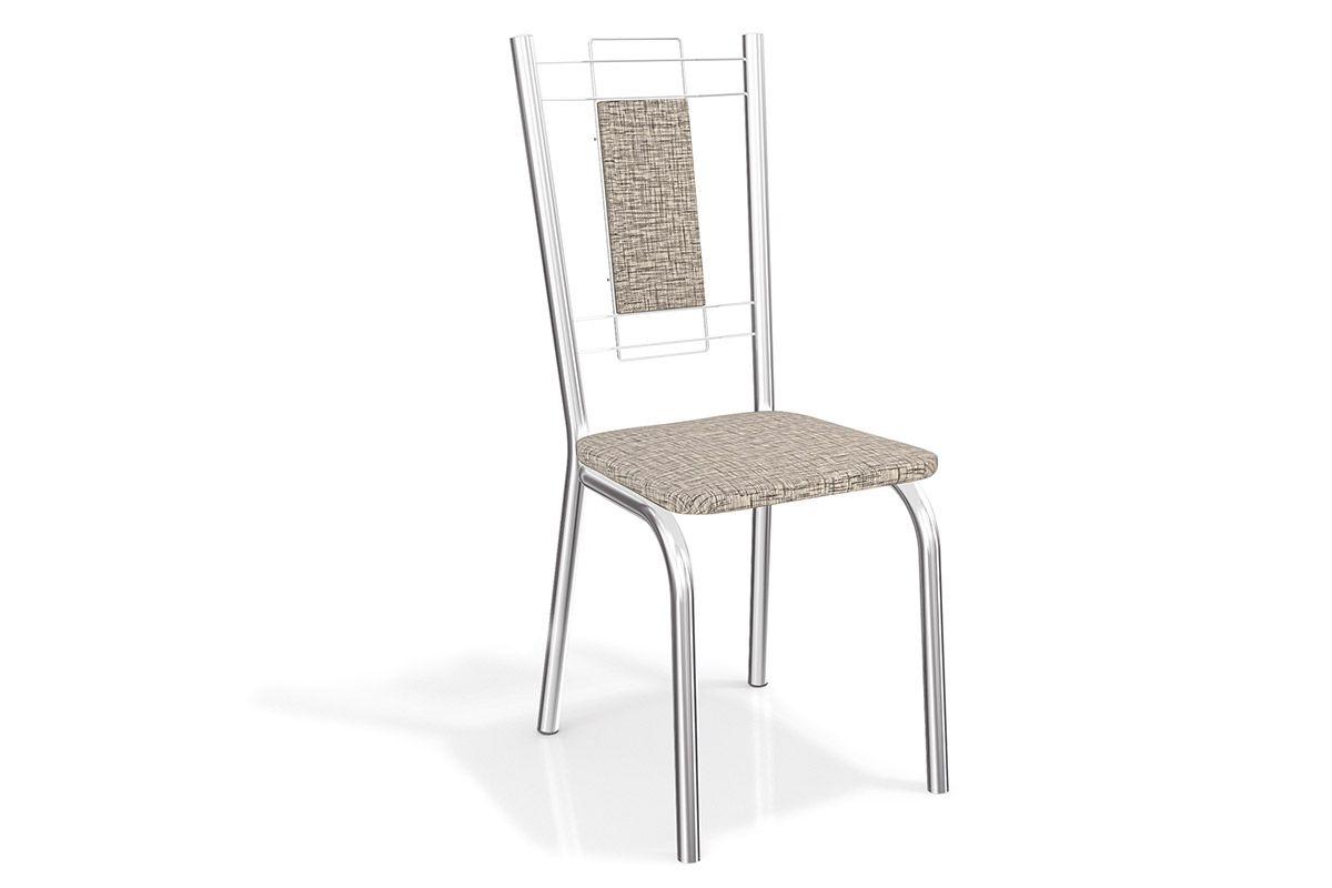 Cadeira Kappesberg Florença Aço Cromada 2C005CRCor Cromado  -  Assento Linho Marrom 22