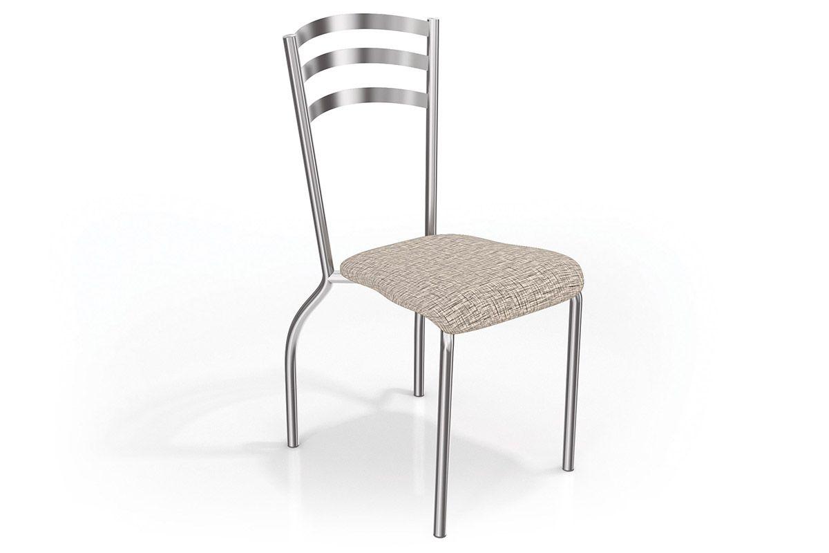 Cadeira Kappesberg Portugal Cromada 2C007CRCor Cromado  -  Assento Linho Marrom 22