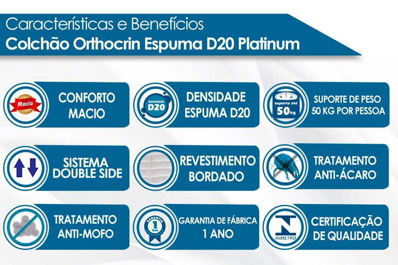 Colchão Orthocrin Espuma D20 Platinum